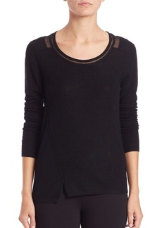 Elie Tahari Bay Sheer-Detail Sweater