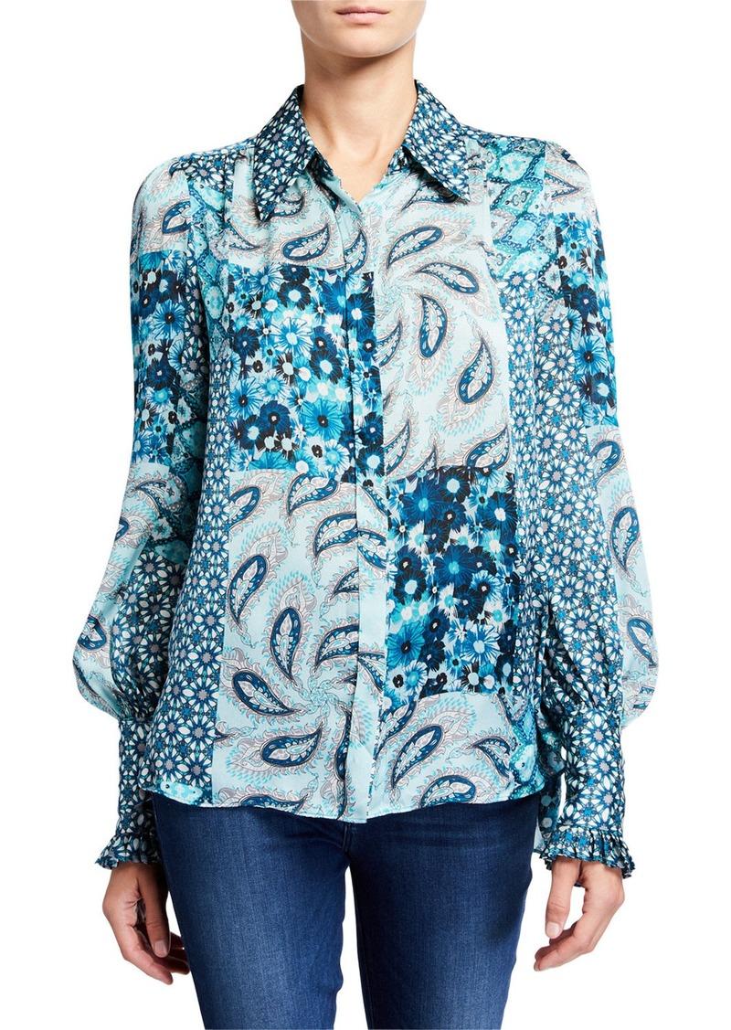Elie Tahari Beck Mixed Print Button-Down Silk Shirt