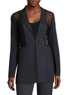 Elie Tahari Becky Crochet & Faille Jacket