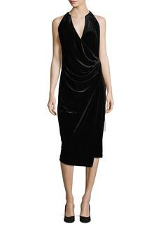 Elie Tahari Belecia Sleeveless Faux-Wrap Velvet Dress