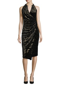 Elie Tahari Belecia Sleeveless Faux-Wrap Velvet Dress