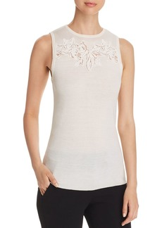 Elie Tahari Bell Sleeveless Embroidered Sweater