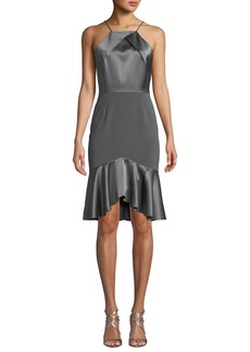 Elie Tahari Bella High-Low Satin Cocktail Dress