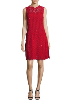 Elie Tahari Bella Sleeveless Pleated Crocheted Dress