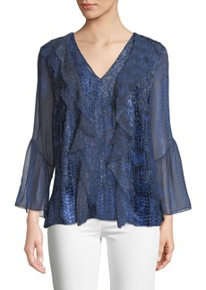 Elie Tahari Beverly Ruffled Silk-Blend Blouse