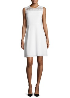 Elie Tahari Bevin Sleeveless Lace-Yoke Dress