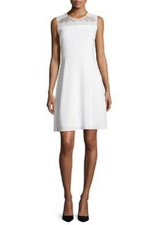 Elie Tahari Bevin Sleeveless Lace-Yoke Dress