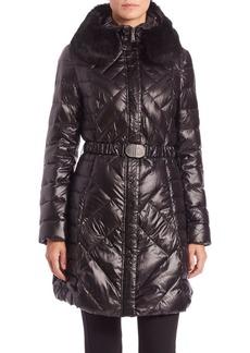 Elie Tahari Bianca Fur-Trimmed Belted Puffer Coat