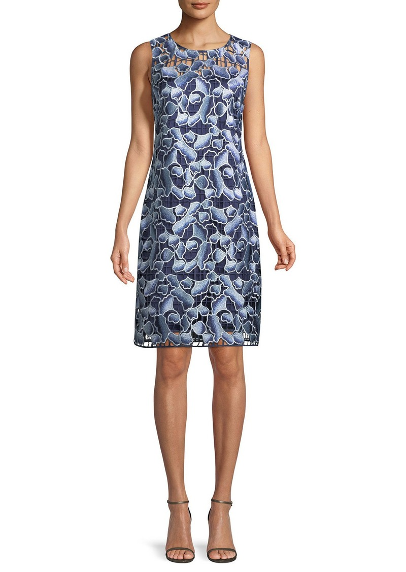 Elie Tahari Biebra Floral-Lace Shift Dress