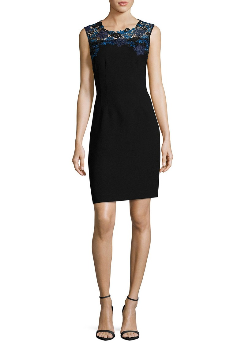 Elie Tahari Blake Sleeveless Lace-Yoke Sheath Dress