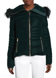 Elie Tahari Blakely Velvet Fox Fur Trim Jacket