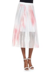 Tahari Woman Bloom Eyelet Circle Skirt