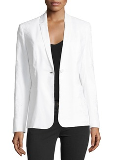 Elie Tahari Bonnie One-Button Embroidered Jacket