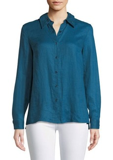 Bowen Crinkle-Texture Blouse with Lace Back