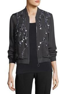 Elie Tahari Brandy Embellished Silk Bomber Jacket