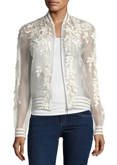 Elie Tahari Brandy Floral Illusion Silk Bomber Jacket