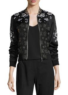 Elie Tahari Brandy Floral Lace Bomber Jacket