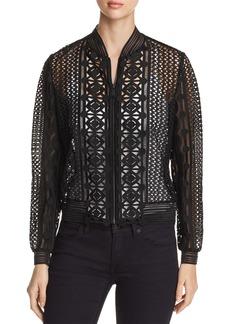 Elie Tahari Brandy Geometric Lace Bomber Jacket