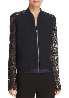 Elie Tahari Brandy Lace Sleeve Bomber Jacket