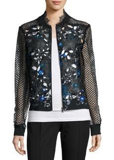 Elie Tahari Brandy Lace-Sleeve Floral-Cutout Moto Jacket