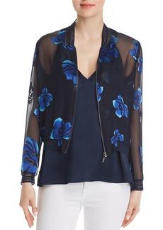 Elie Tahari Brandy Sheer Floral Bomber Jacket