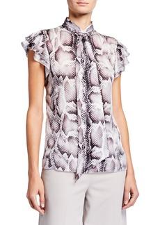 Elie Tahari Bree Snake-Print Tie-Neck Flutter-Sleeve Silk Shirt