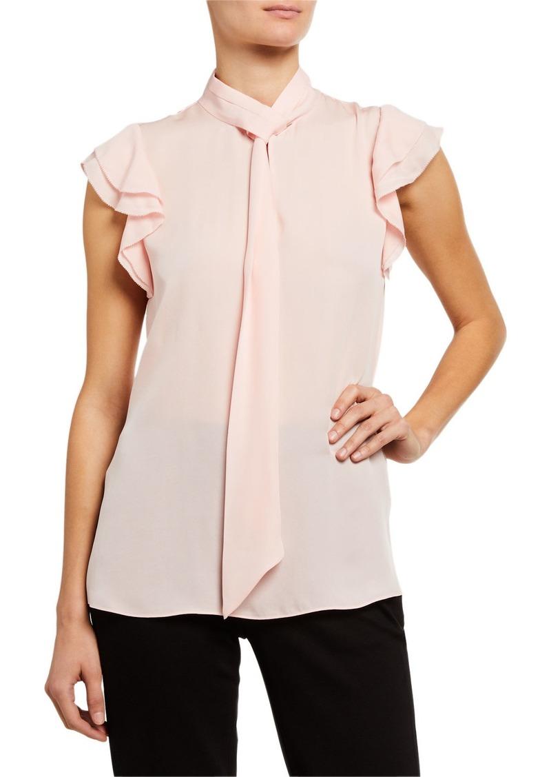 Elie Tahari Bree Tie-Neck Cap-Sleeve Silk Shirt