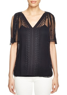 Elie Tahari Brette Embroidered Silk Blouse
