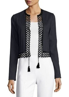 Elie Tahari Britta Lace-Trim Stretch-Linen Cropped Jacket