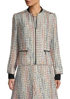 Elie Tahari Brooke Tweed Bomber Jacket