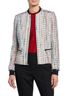 Elie Tahari Brooke Zip-Front Tweed Jacket