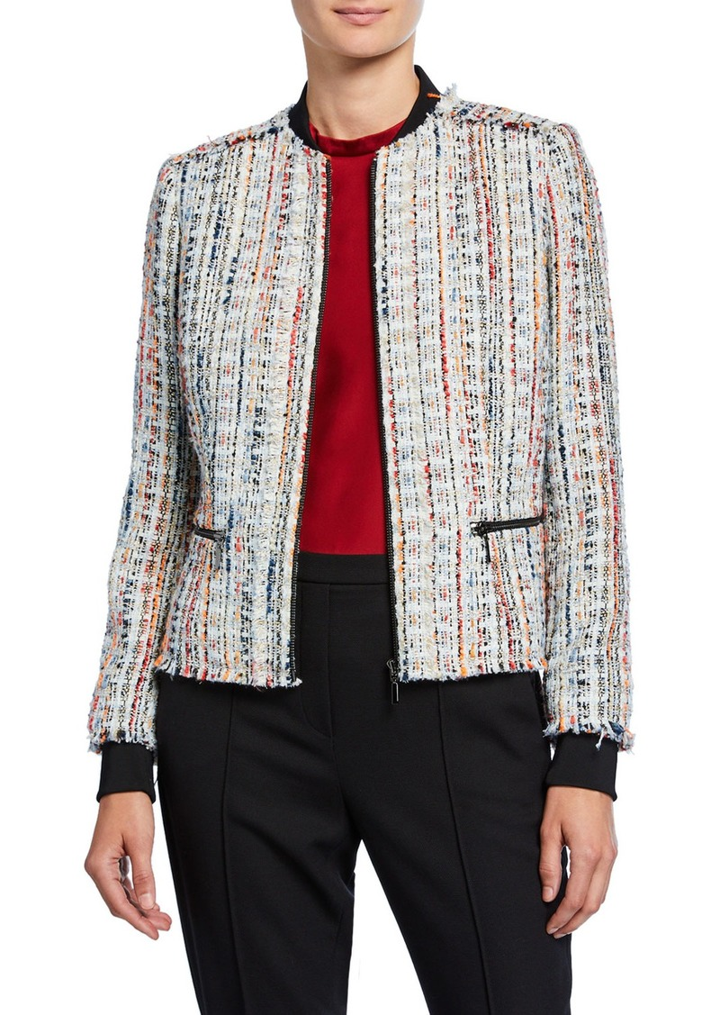 Elie Tahari Brooke Zip-Front Tweed Jacket