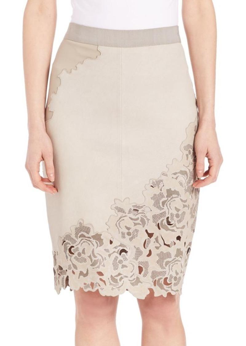 Elie Tahari Bryana Lasercut Leather Skirt