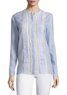 Elie Tahari Buffy Lace-Inset Linen Blouse