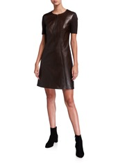 Elie Tahari Buffy Zip-Front Short-Sleeve Leather & Ponte Dress
