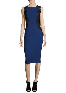 Elie Tahari Cailyn Seamed Sheath Dress w/ Zip Hem