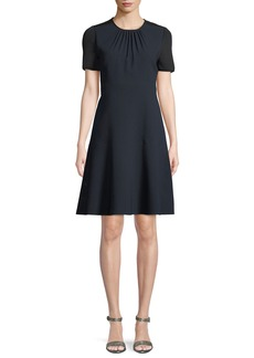 Elie Tahari Caliana Ruched Jewel-Neck Short-Sleeve Fit-and-Flare Crepe Dress