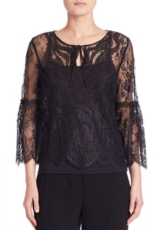 Elie Tahari Calista Lace Bell Sleeve Top