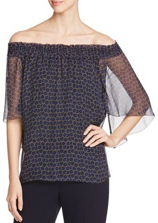 Elie Tahari Calliope Floral Silk Off-the-Shoulder Blouse