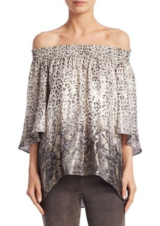 Elie Tahari Calliope Off-the-Shoulder Printed Blouse