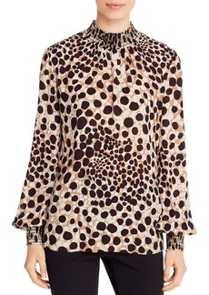 Elie Tahari Camden Animal Print Smocked Top