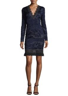 Elie Tahari Camden Long-Sleeve Lace Dress w/ Fringe Hem