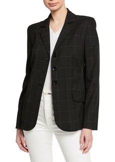Elie Tahari Camila Grid Button-Front Jacket