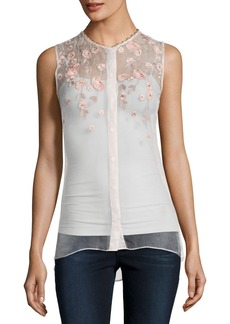 Elie Tahari Camila Sleeveless Embroidered Sheer Silk Blouse