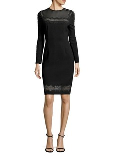 Elie Tahari Candice Crepe Lace Trim Dress