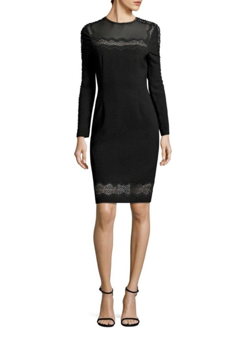 Elie Tahari Candice Crepe Lace Trim Dress