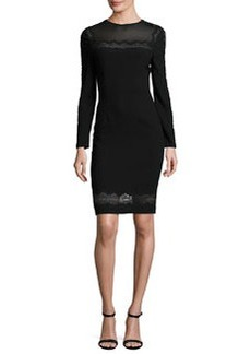 Elie Tahari Candice Long-Sleeve Lace-Trimmed Sheath Dress