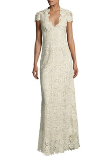 Elie Tahari Cap-Sleeve Metallic Lace Column Gown