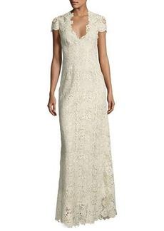 Elie Tahari Cap-Sleeve Metallic Lace Column Gown