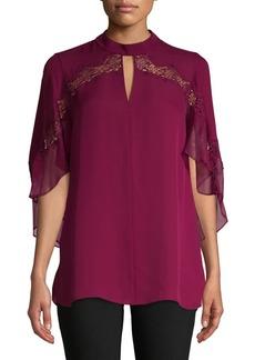 Elie Tahari Cape-Sleeve Silk Blouse